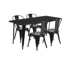 """Commercial Grade 31.5"""" x 63"""" Rectangular Black Metal Indoor-Outdoor Table Set with 4 Stack Chairs"""