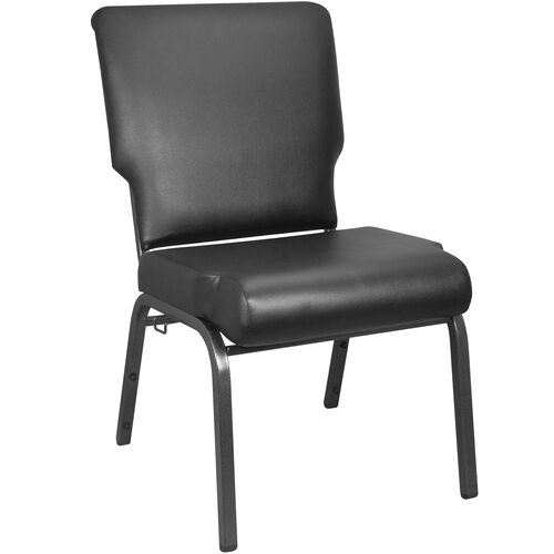 Advantage Black Vinyl Church Chair with Book Rack 20.5 in. Wide