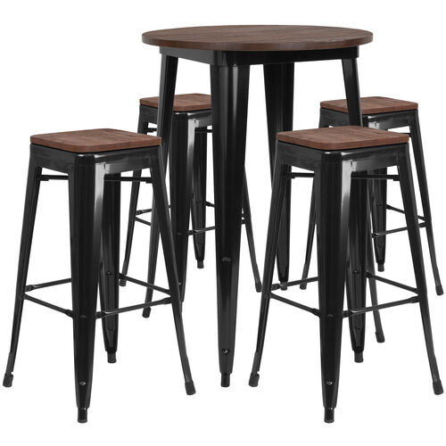 """Our 30"""" Round Black Metal Bar Table Set with Wood Top and 4 Backless Stools is on sale now."""