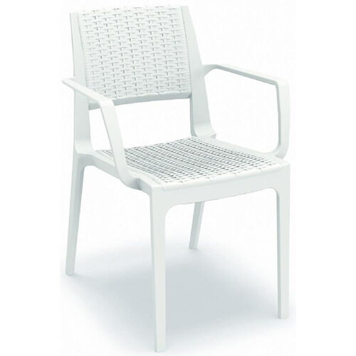 Our Capri Outdoor Wickerlook Resin Dining Arm Chair - White is on sale now.