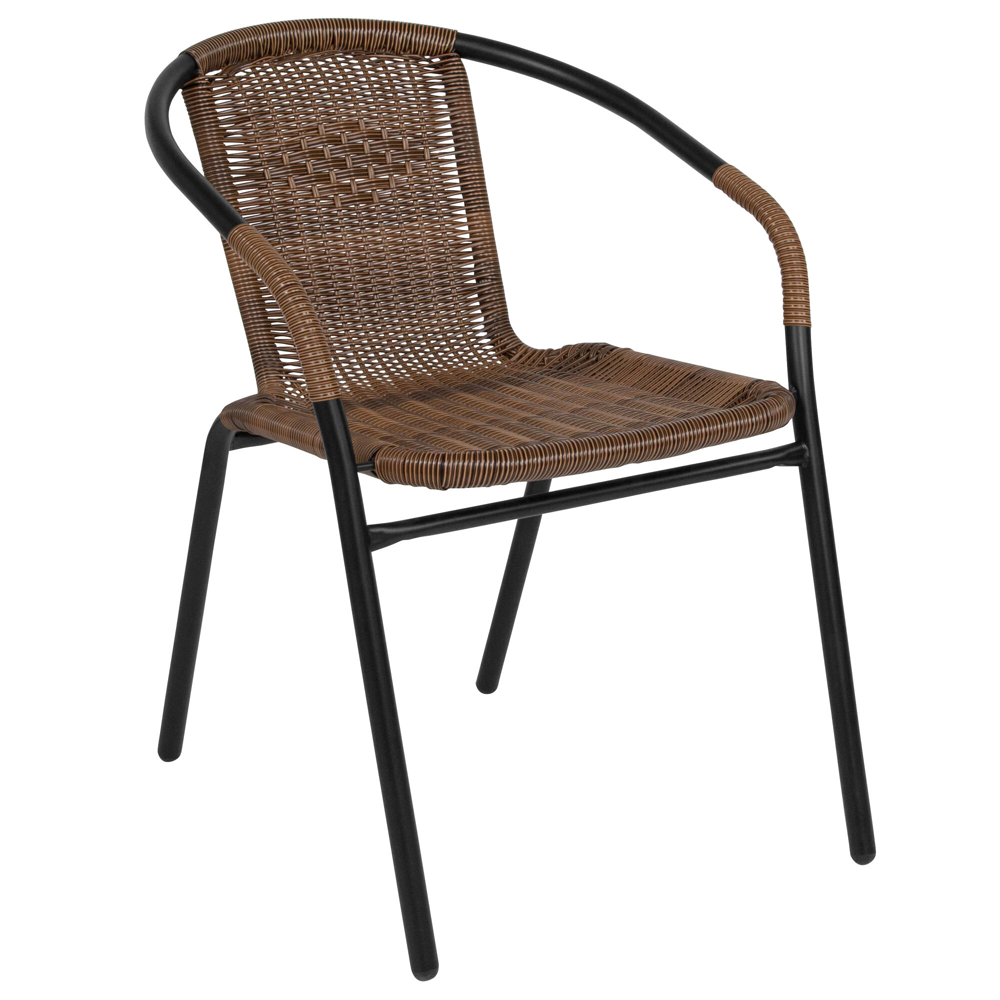 Fantastic Medium Brown Rattan Indoor Outdoor Restaurant Stack Chair Bralicious Painted Fabric Chair Ideas Braliciousco