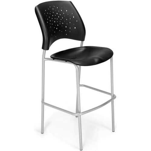 Stars Cafe Height Plastic Chair with Silver Frame - Black