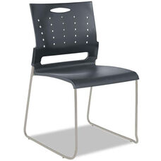 Alera® Continental Series Perforated Back Stacking Chairs - Charcoal Gray - 4/Carton