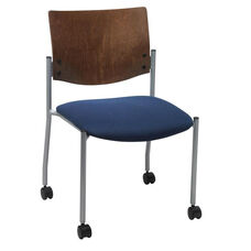 1300 Series Stacking Armless Guest Chair with Chocolate Wood Back and Casters - Grade 1 Upholstered Seat