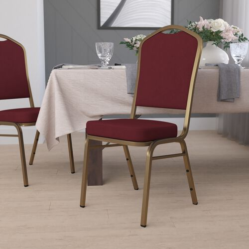 HERCULES Series Crown Back Stacking Banquet Chair in Burgundy Fabric - Gold Frame