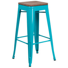 """30"""" High Backless Crystal Teal-Blue Barstool with Square Wood Seat"""