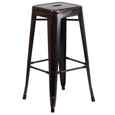 """Commercial Grade 30"""" High Backless Black-Antique Gold Metal Indoor-Outdoor Barstool with Square Seat"""