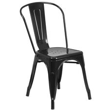 Commercial Grade Black Metal Indoor-Outdoor Stackable Chair