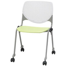 2300 KOOL Series Stacking Poly Silver Steel Frame Armless Chair with White Perforated Back and Casters - Lime Green Seat