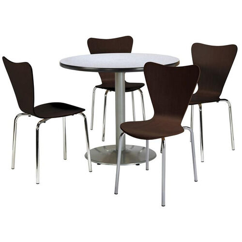 Our Round Laminate Table Set with Espresso Finish Wood Cafe Stack Chairs - Seats 4 is on sale now.