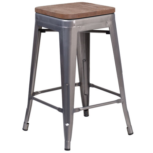 """Our 24"""" High Backless Clear Coated Metal Counter Height Stool with Square Wood Seat is on sale now."""