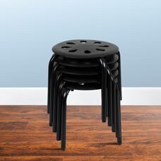 "Plastic Nesting Stack Stools, 11.5""Height, Black (5 Pack)"