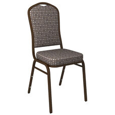 Crown Back Banquet Chair in Culp Fine Tune Ash Fabric - Gold Vein Frame
