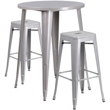 "Commercial Grade 30"" Round Silver Metal Indoor-Outdoor Bar Table Set with 2 Square Seat Backless Stools"