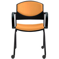 Eddy Stack Side Chair on Casters with Upholstered Back and Seat Pads