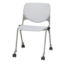 2300 KOOL Series Stacking Poly Silver Steel Frame Armless Chair with Perforated Back and Casters - Light Grey