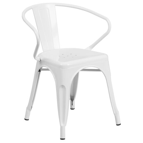 Our Commercial Grade White Metal Indoor-Outdoor Chair with Arms is on sale now.