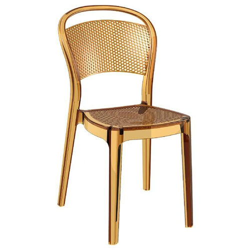 Bee Polycarbonate Stackable Dining Chair - Transparent Amber