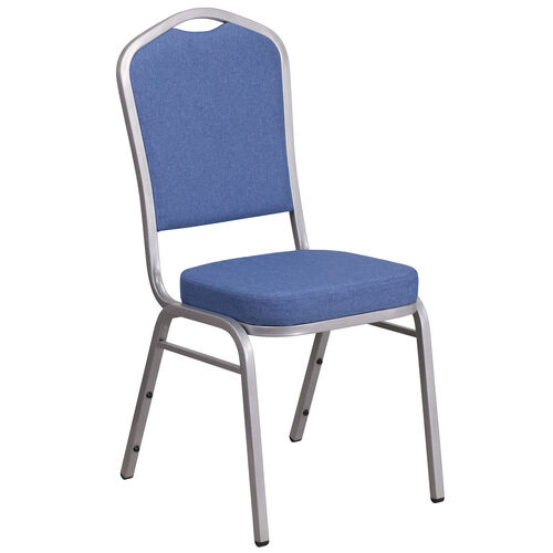 Our HERCULES Series Crown Back Stacking Banquet Chair in Blue Fabric - Silver Frame is on sale now.