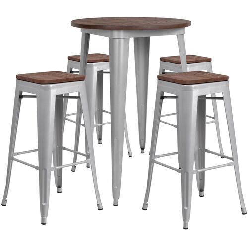 "Our 30"" Round Silver Metal Bar Table Set with Wood Top and 4 Backless Stools is on sale now."