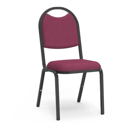 Our 8900 Series Stack Chair with Round Back and Dome Seat in Sedona Ruby Fabric and Black Frame - 18