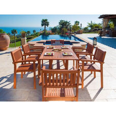 Malibu 7 Piece Outdoor Wood Dining Set with Curvy Leg Table and 6 Stacking Armchairs