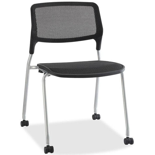 Our Lorell Black Mesh Back Stacking Guest Chair with Black Plastic Seat and Castors - Set of 2 is on sale now.