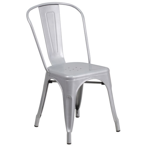 Our Silver Metal Indoor-Outdoor Stackable Chair is on sale now.