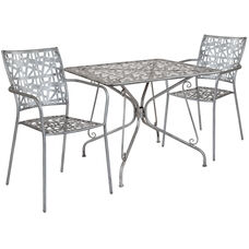 """Agostina Series 35.25"""" Square Antique Silver Indoor-Outdoor Steel Patio Table with 2 Stack Chairs"""