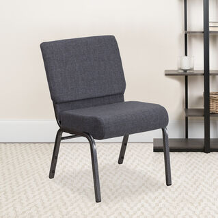 HERCULES Series 21''W Church Chair in Dark Gray Fabric - Silver Vein Frame
