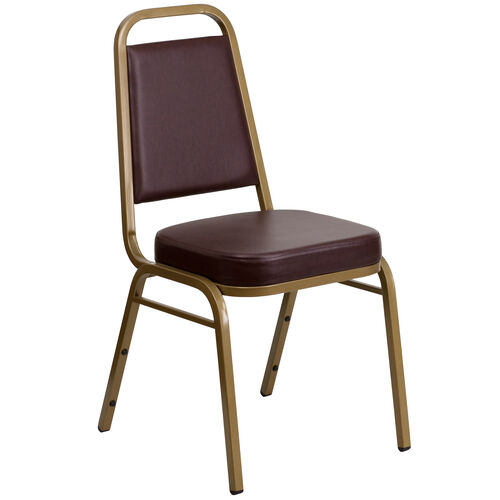 Our HERCULES Series Trapezoidal Back Stacking Banquet Chair in Brown Vinyl - Gold Frame is on sale now.