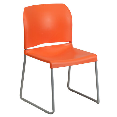 Our HERCULES Series 880 lb. Capacity Orange Full Back Contoured Stack Chair with Sled Base is on sale now.