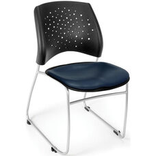 Stars Stack Chair with Vinyl Seat - Navy