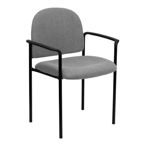 Our Comfort Gray Fabric Stackable Steel Side Reception Chair with Arms is on sale now.