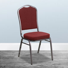 HERCULES Series Crown Back Stacking Banquet Chair in Burgundy Patterned Fabric - Silver Vein Frame