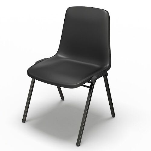 Event Series One Piece Polypropylene Stack Chair - Set of 4 - Black