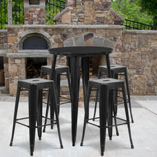 """Commercial Grade 30"""" Round Black Metal Indoor-Outdoor Bar Table Set with 4 Square Seat Backless Stools"""