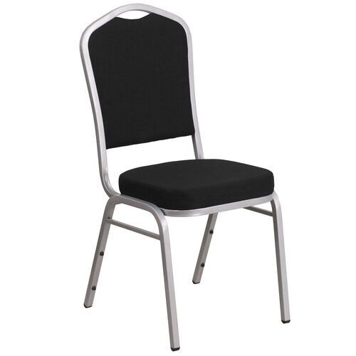 Our HERCULES Series Crown Back Stacking Banquet Chair in Black Fabric - Silver Frame is on sale now.