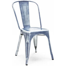 Dreux Vintage Blue Stackable Steel Armless Side Chair - Set of 4