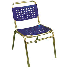 South Beach Hand Polished Tubular Aluminum Stackable Side Chair - Blue