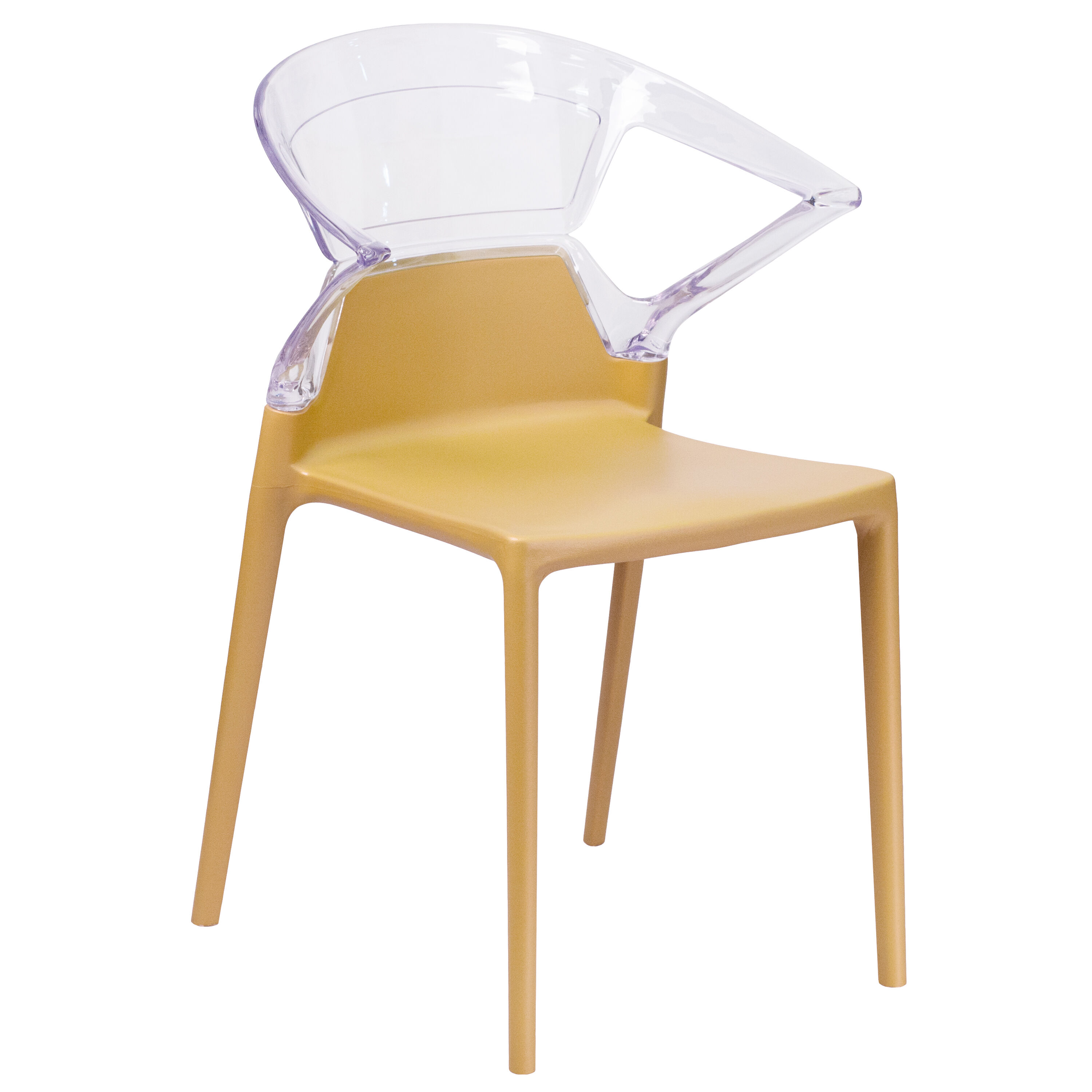 Attractive Fascination Series Plastic Stacking Side Chair With Gold Seat And  Transparent Back