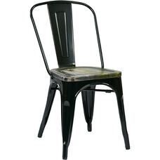 OSP Designs Bristow Metal Chair with Vintage Wood Seat - 2-Pack - Black and Ash Cameron