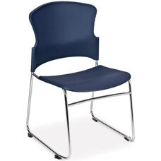 Multi-Use Stack Chair with Plastic Seat and Back - Navy