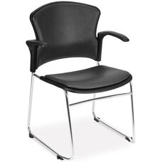 Multi-Use Stack Chair with Anti-Microbial and Anti-Bacterial Vinyl Seat and Back with Arms - Charcoal
