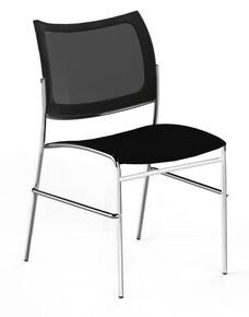 Bistro Escalate Chair with Mesh Back and Plastic Seat - Set of 4 - Black