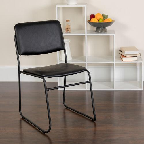 HERCULES Series 500 lb. Capacity High Density Black Vinyl Stacking Chair with Sled Base