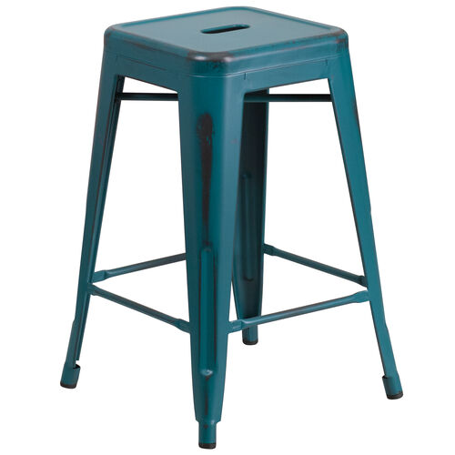 """Our Commercial Grade 24"""" High Backless Distressed Kelly Blue-Teal Metal Indoor-Outdoor Counter Height Stool is on sale now."""