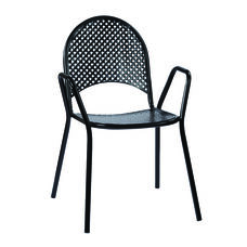 Work Smart Metal Stacking Chairs with Arms - Set of 4 - Black