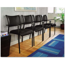 Alera® Eikon Series Stacking Mesh Guest Arm Chair - Set of Two - Black Frame