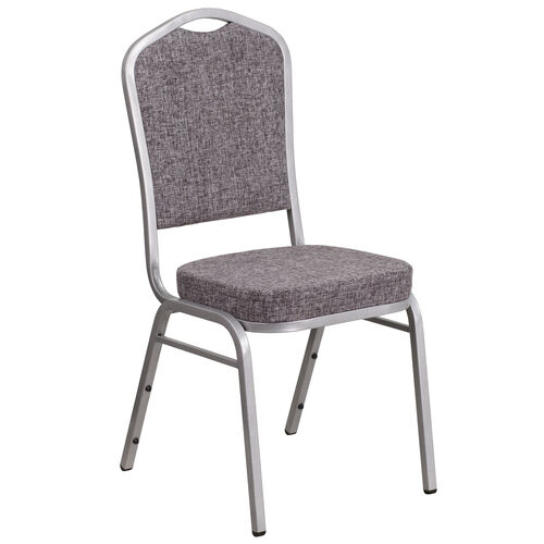 Our HERCULES Series Crown Back Stacking Banquet Chair in Herringbone Fabric - Silver Frame is on sale now.